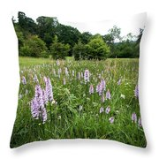 Common Spotted Orchids Throw Pillow
