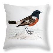 Common Stonechat Illustration Throw Pillow