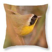 Common Yellow-throat In Hiding Throw Pillow