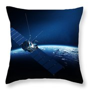 Communications Satellite Orbiting Earth Throw Pillow