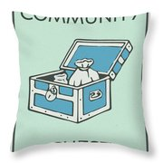 Community Chest Vintage Monopoly Board Game Theme Card Throw Pillow