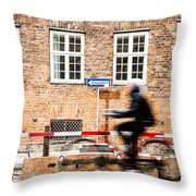 Commuter Going To Work By Cycle In Copenhagen Throw Pillow