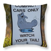 Compact Cars Only Sign Throw Pillow