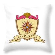 Compass Navigator Coat Of Arms Crest Retro Throw Pillow