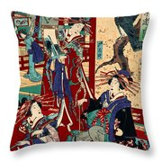 Competing Brothels 1876 Throw Pillow