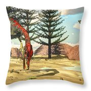 Compsognathus Dinosaur Attempts To Eat Throw Pillow