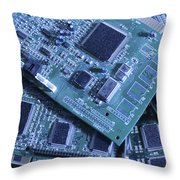 Computer Boards And Chips Lie In A Pile Throw Pillow