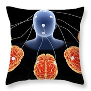 Conceptual Image Of Multi-brain Throw Pillow