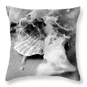 Conch In The Surf Throw Pillow