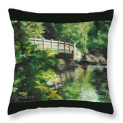 Concord River Bridge Throw Pillow