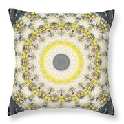 Concrete And Yellow Mandala- Abstract Art By Linda Woods Throw Pillow by Linda Woods
