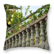 Concrete Banister And Plants Throw Pillow