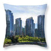 Condominium Waterfront Living In Vancouver Bc Throw Pillow