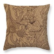 Cone Flowers And Daylily Throw Pillow