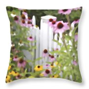 Cone Flowers And Fence Throw Pillow