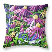 Coneflowers In Gentle Wind Throw Pillow