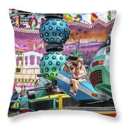 Coney Island Amusement Ride Throw Pillow