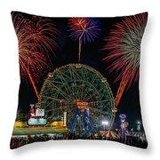 Coney Island At Night Fantasy Throw Pillow