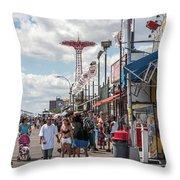 Coney Island Boardwalk II Throw Pillow