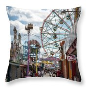 Coney Island Boardwalk IIi Throw Pillow