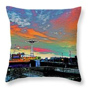 Coney Island In Living Color Throw Pillow