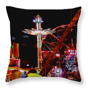 Coney Island Opening Day In Brooklyn New York Throw Pillow