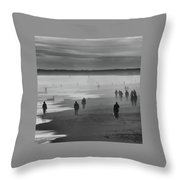 Coney Island Walkers Throw Pillow by Eric Lake
