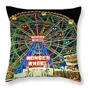 Coney Island's Wonderous Wonder Wheel In Neon Throw Pillow