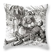 Confederate General John Brown Gordon Assists Wounded Union General Francis Channing Barlow Throw Pillow