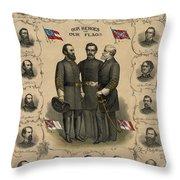 Confederate Generals Of The Civil War Throw Pillow