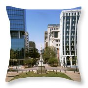 Confederate Monument With Buildings Throw Pillow