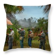 Confederate Rifle Fire Throw Pillow