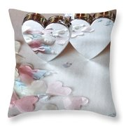 Confetti Hearts Throw Pillow