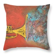 Confetti Horn On Orange Throw Pillow
