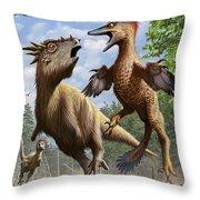 Confrontation Between Pectinodon Throw Pillow