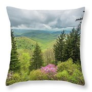 Conifers And Blooms Throw Pillow