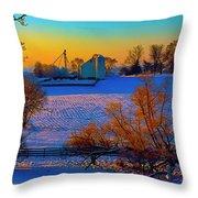 Conley Road Farm Winter  Throw Pillow