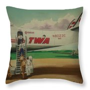 Connie Crew Deplaning At Columbus Throw Pillow