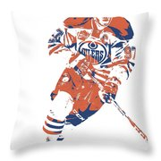 Connor Mcdavid Edmonton Oilers Pixel Art 6 Throw Pillow