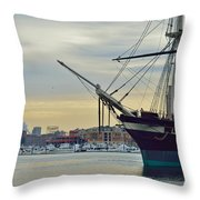 Uss Constellation And Domino Sugars - Sloop Of War Warship In Baltimore's Inner Harbor - Us Navy Throw Pillow