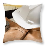 Construction Contractor Tools With Blue Print Drawings In Backgr Throw Pillow