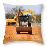 Construction Digger Throw Pillow