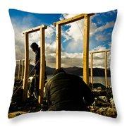 Construction In Ladakh Throw Pillow