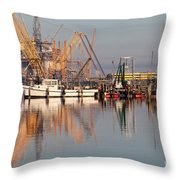 Construction Of Oil Platform With Boats Throw Pillow