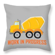 Construction Zone - Concrete Truck Work In Progress Gifts - Grey Background Throw Pillow