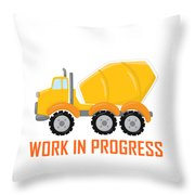 Construction Zone - Concrete Truck Work In Progress Gifts - White Background Throw Pillow