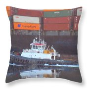 Container Ship And Tug Throw Pillow