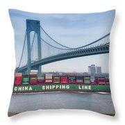 Container Ship Passing The Verrazano Bridge Throw Pillow