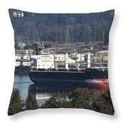 Container Ship Ready To Load More Lumber Throw Pillow