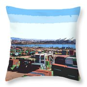 Container Terminal Throw Pillow
